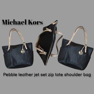 Michael Kors leather jet set zip tote shoulder bag